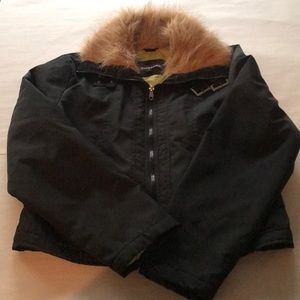 Dollhouse black jacket- faux fur collar